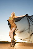 Mujer hermosa en el baile del oro Imágenes de archivo libres de regalías