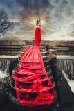 Mujer hermosa en el vestido largo rojo que se coloca en una cascada Imagen de archivo libre de regalías