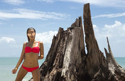 Mujer hermosa en gafas de sol y bikini rojo en la playa Mirada de la manera Señora atractiva Fotos de archivo libres de regalías