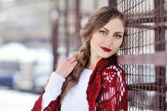 Mujer hermosa en invierno en un parque en bufanda roja y labios rojos Fotos de archivo