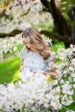 Mujer hermosa en jardín de la cereza con la taza de té Imagenes de archivo
