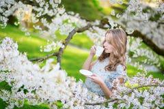 Mujer hermosa en jardín de la cereza con la taza de té Fotos de archivo