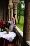 Mujer hermosa en restaurante de lujo Imagenes de archivo