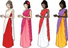 Mujer hermosa en sari india del vestido Fotografía de archivo