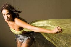 Mujer hermosa en seda Imagenes de archivo
