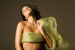 Mujer hermosa en seda foto de archivo libre de regalías