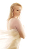 Mujer hermosa en seda Fotografía de archivo libre de regalías