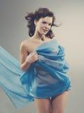 Mujer hermosa en tela que agita Fotografía de archivo