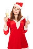 Mujer hermosa en traje del Año Nuevo con un vidrio de champán Fotos de archivo