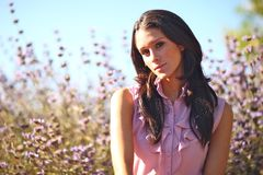 Mujer hermosa en un campo en verano Fotografía de archivo