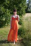 Mujer hermosa en vestido anaranjado Fotografía de archivo