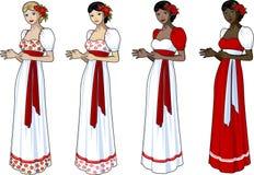 Mujer hermosa en vestido de boda eslavo Foto de archivo