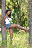 Mujer hermosa entre dos árboles de pino (2) Foto de archivo libre de regalías