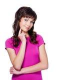 Mujer hermosa expresiva de pensativo Foto de archivo libre de regalías