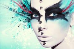 Mujer hermosa, ilustraciones con tinta en estilo del grunge Foto de archivo