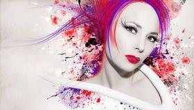 Mujer hermosa, ilustraciones con tinta en estilo del grunge fotografía de archivo