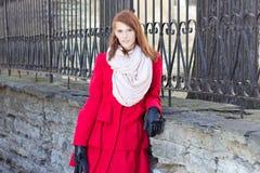 Mujer hermosa joven cerca de la cerca del metall Fotos de archivo libres de regalías