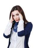 Mujer hermosa joven con dolor de cabeza Foto de archivo libre de regalías