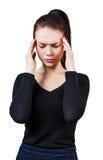 Mujer hermosa joven con dolor de cabeza Fotos de archivo
