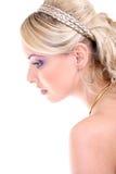 Mujer hermosa joven con el pelo rizado largo Imagen de archivo
