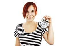 Mujer hermosa joven con el reloj Fotografía de archivo
