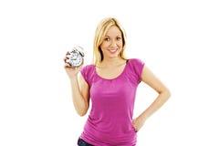 Mujer hermosa joven con el reloj Fotos de archivo libres de regalías