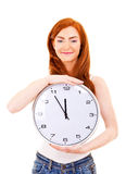 Mujer hermosa joven con el reloj Imágenes de archivo libres de regalías