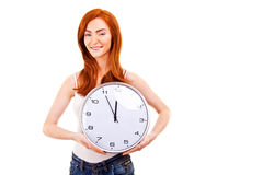 Mujer hermosa joven con el reloj Fotografía de archivo libre de regalías