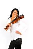 Mujer hermosa joven con el violín Fotografía de archivo libre de regalías