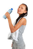 Mujer hermosa joven con la botella de agua Foto de archivo