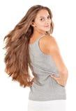 Mujer hermosa joven con los pelos largos del vuelo Imagenes de archivo