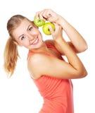 Mujer hermosa joven con manzanas Imágenes de archivo libres de regalías