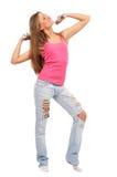Mujer hermosa joven con pesas de gimnasia Imágenes de archivo libres de regalías