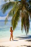 Mujer hermosa joven debajo de la palmera, vacaciones tropicales Imagen de archivo