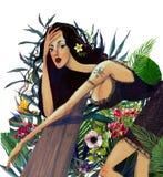 Mujer hermosa joven del verano con las flores tropicales fotografía de archivo