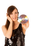 Mujer hermosa joven DJ con Cd en su mano Foto de archivo libre de regalías