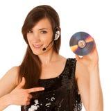 Mujer hermosa joven DJ con Cd en su mano Imagen de archivo