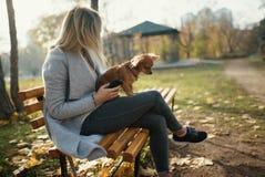 Mujer hermosa joven en el parque con su perro de pelo largo divertido de la chihuahua Fondo del otoño Imagenes de archivo