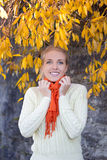 Mujer hermosa joven en el suéter blanco que presenta contra la pared de piedra Fotografía de archivo