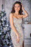 Mujer hermosa joven en el vestido elegante de plata que se coloca en interi Fotografía de archivo