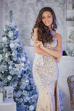 Mujer hermosa joven en el vestido elegante de plata que se coloca en interi Fotos de archivo libres de regalías