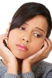 Mujer hermosa joven en la depresión. Foto de archivo libre de regalías