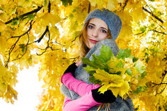 Mujer hermosa joven en un parque del otoño Imagen de archivo libre de regalías