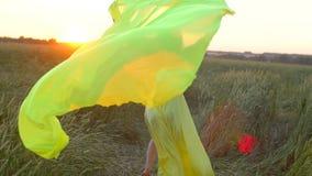 Mujer hermosa joven feliz en el vestido amarillo que corre en campo de trigo en el verano de la puesta del sol, concepto de la fe almacen de video