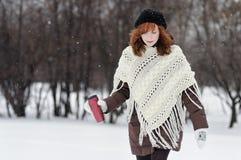 Mujer hermosa joven que camina en parque del invierno fotografía de archivo libre de regalías