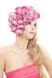 Mujer hermosa joven que mira para arriba Imagen de archivo libre de regalías