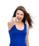 Mujer hermosa joven que señala el finger en la mirada y el cheerfu usted Fotos de archivo