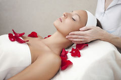 Mujer hermosa joven que tiene masaje facial imagen de archivo libre de regalías