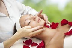 Mujer hermosa joven que tiene masaje facial imagen de archivo