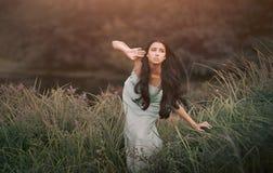 Mujer hermosa pero alarmada del cuento de hadas de la fantasía, - fotografía de archivo libre de regalías